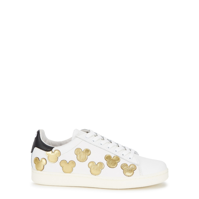 Moa Master Of Arts MOA MASTER OF ARTS MICKEY GOLD PATCH LEATHER TRAINERS