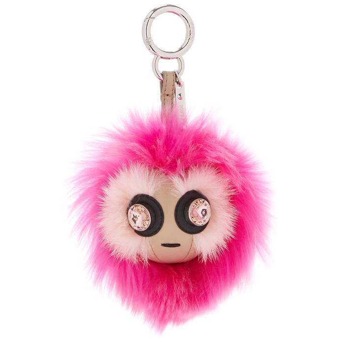 Fendi Bag Bug Pink Crystal-Embellished Fur Charm   ModeSens fda3eb64e2