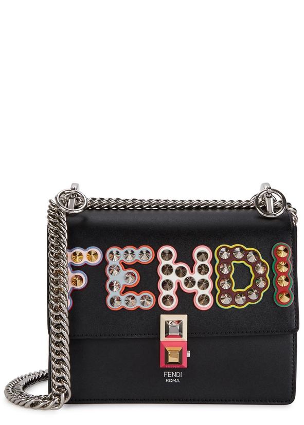 Kan L Black Leather Shoulder Bag