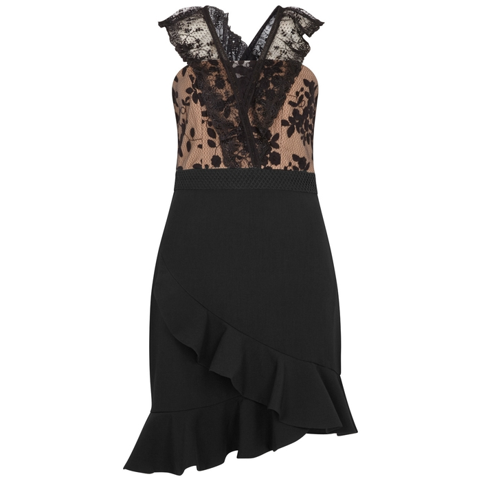 Three Floor BLACK RUFFLE-TRIMMED DRESS