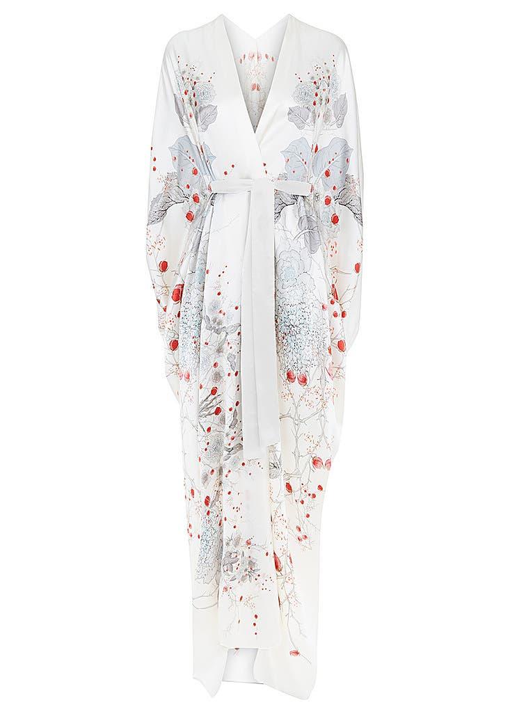 359b5b4f6 White floral silk satin v neck wrap ...