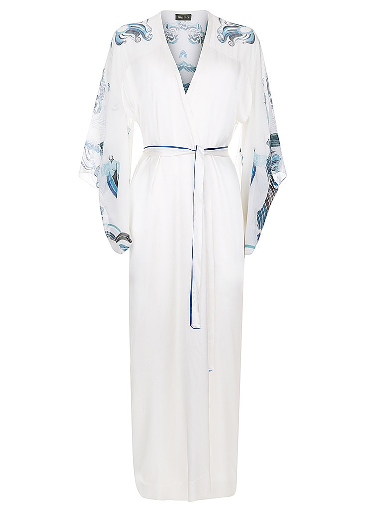 23e790e30 White & blue silk satin kimono ...