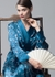 Blue shawl-collared robe - MENG
