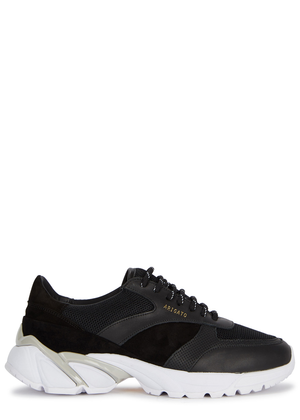 AXEL ARIGATO Tech Runner Core Leather-Trimmed Mesh Sneakers in Black