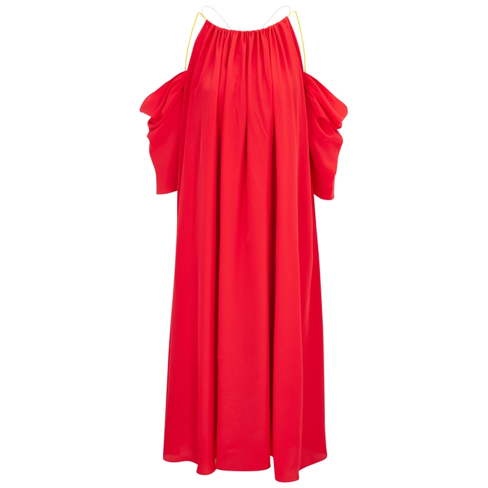 Anna October RED OPEN-SHOULDER SILK BLEND MIDI DRESS