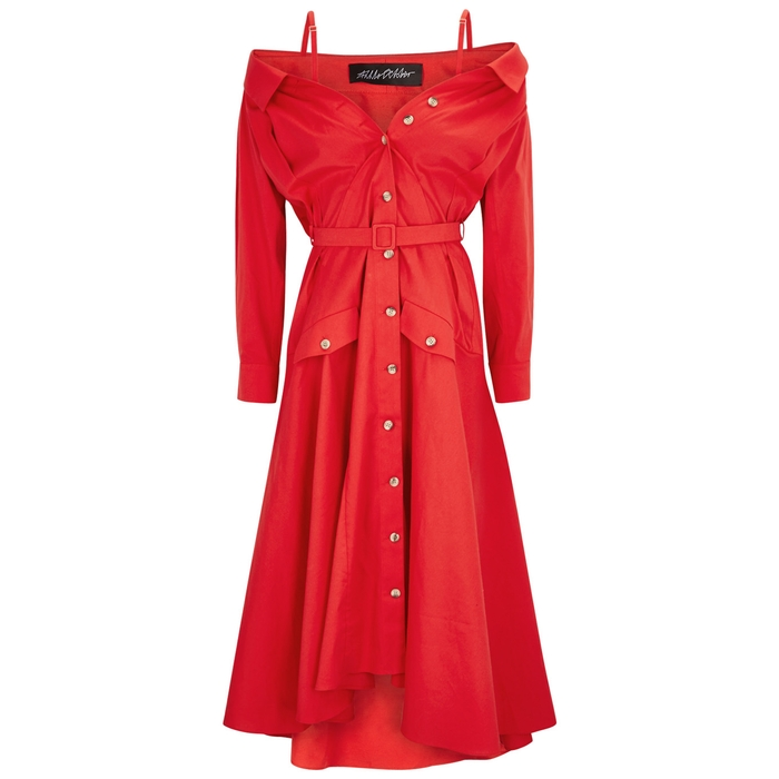 Anna October RED COTTON SHIRT DRESS
