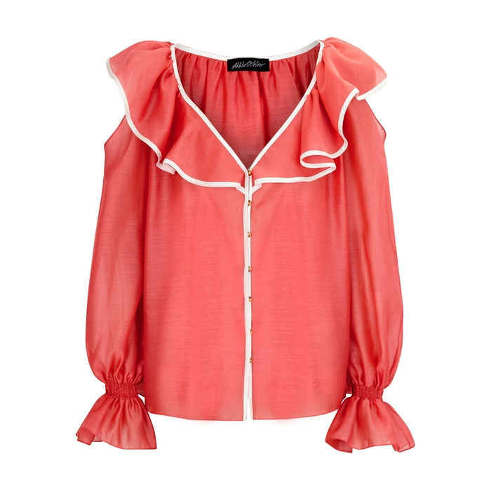 Anna October PINK RUFFLED CHIFFON BLOUSE