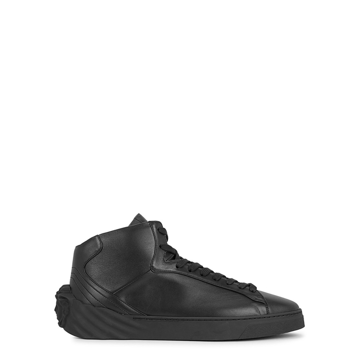 Versace Black Medusa Leather Hi-top Trainers