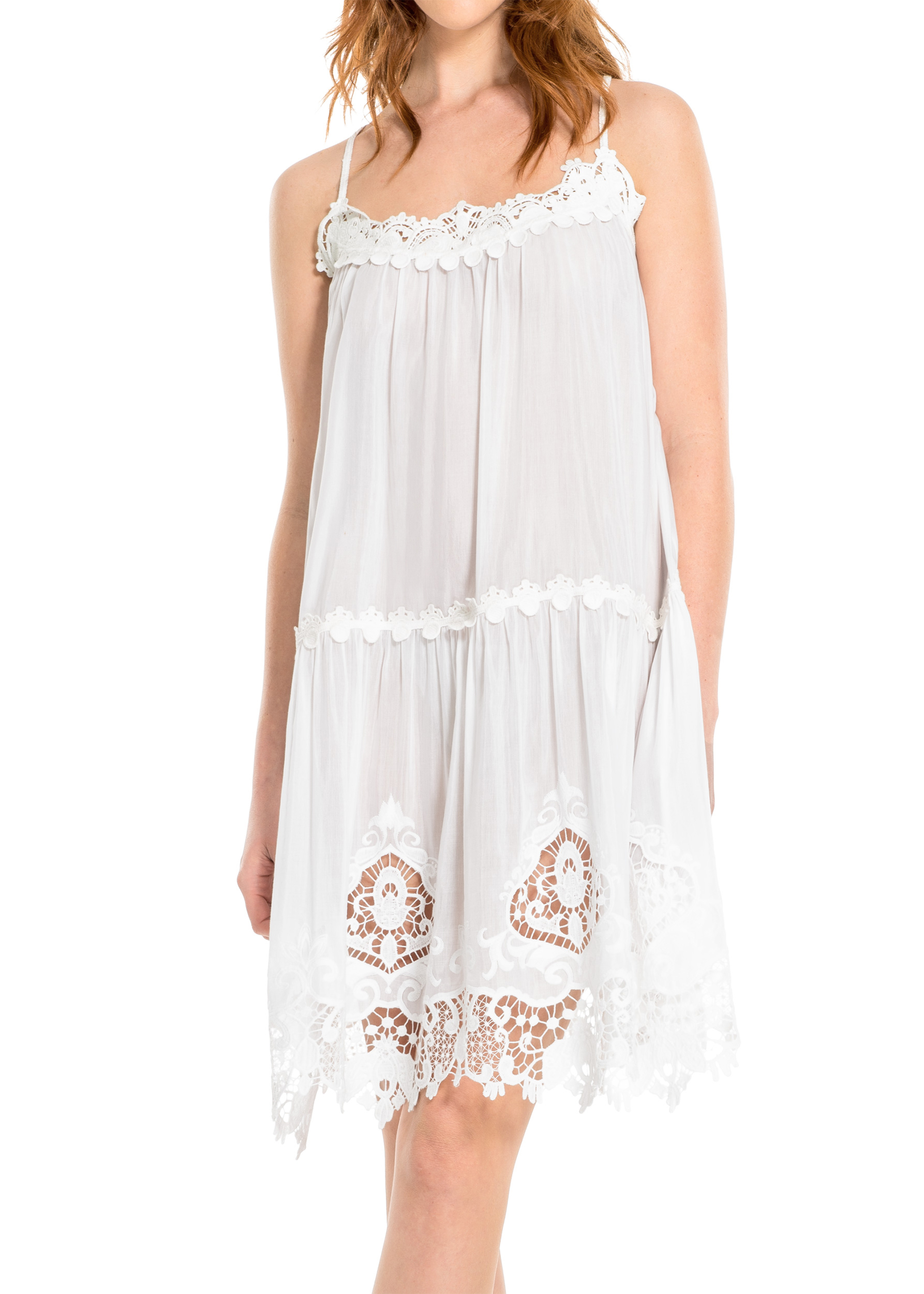 EMBROIDERED COTTON & SILK VOILE SHORT DRESS
