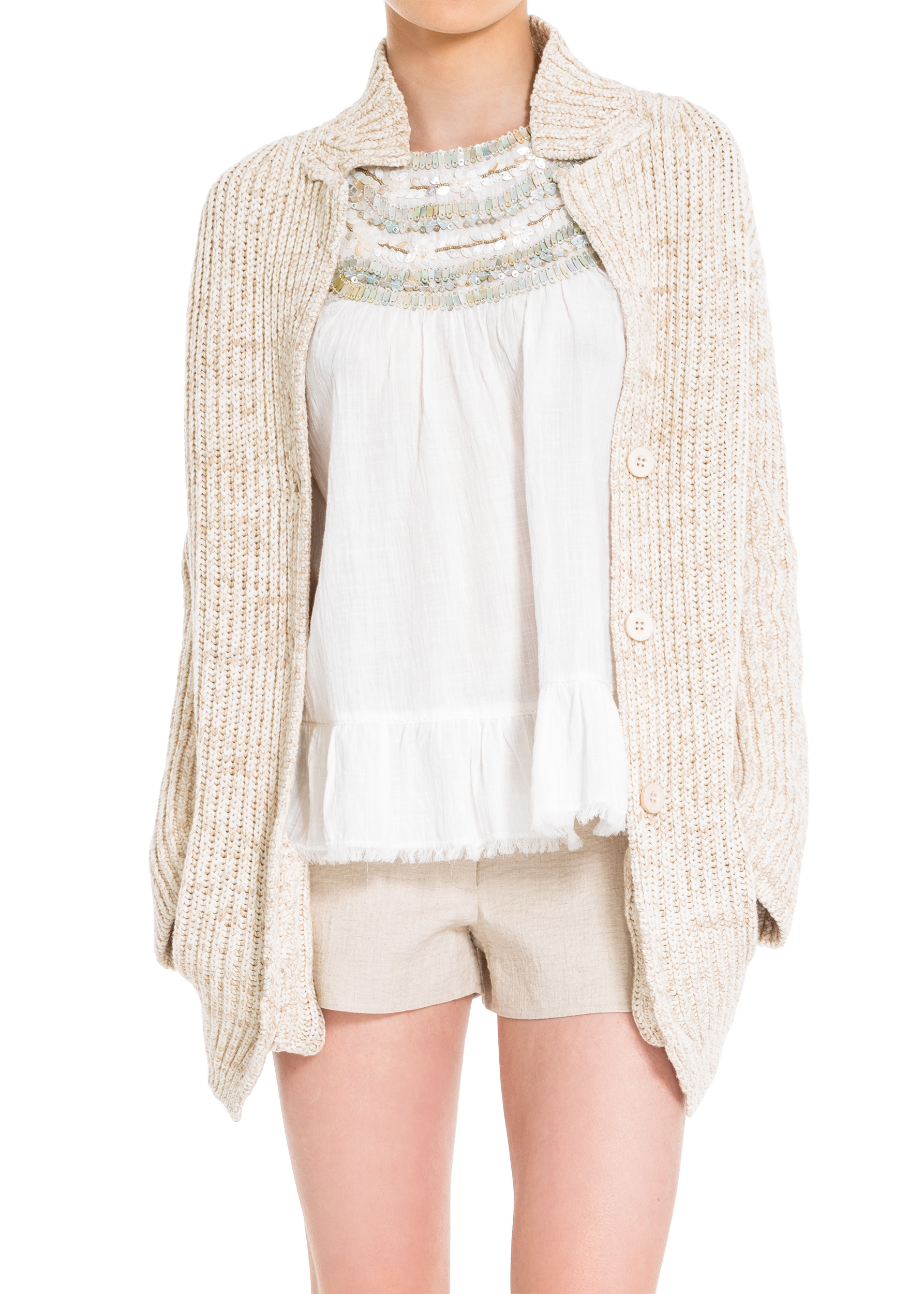 LEON MAX RAMIE AND COTTON RIBBED BOYFRIEND CARDIGAN