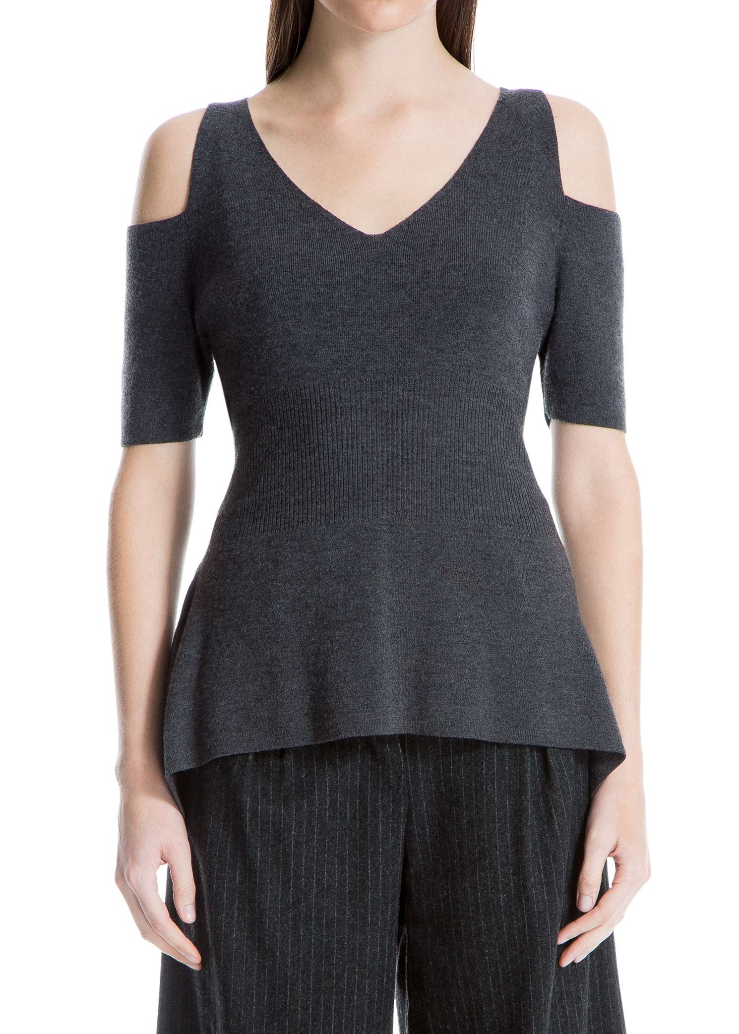LEON MAX WOOL COLD-SHOULDER SWEATER