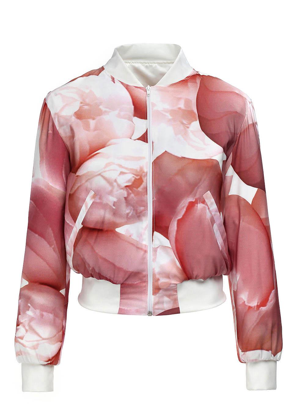 MIHANO MOMOSA Red Peonies Print Bomber Jacket