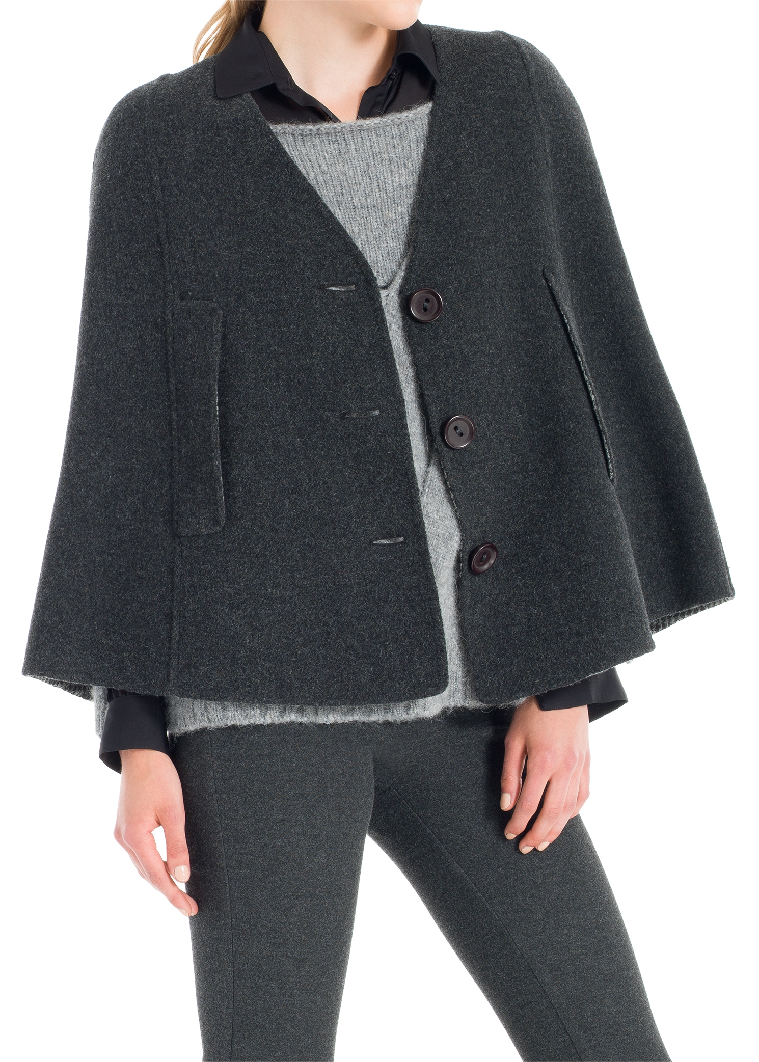 LEON MAX HOUNDSTOOTH FACED WOOL CAPE