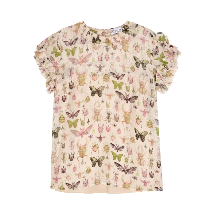 Red Valentino Silks INSECT-PRINT GEORGETTE TOP