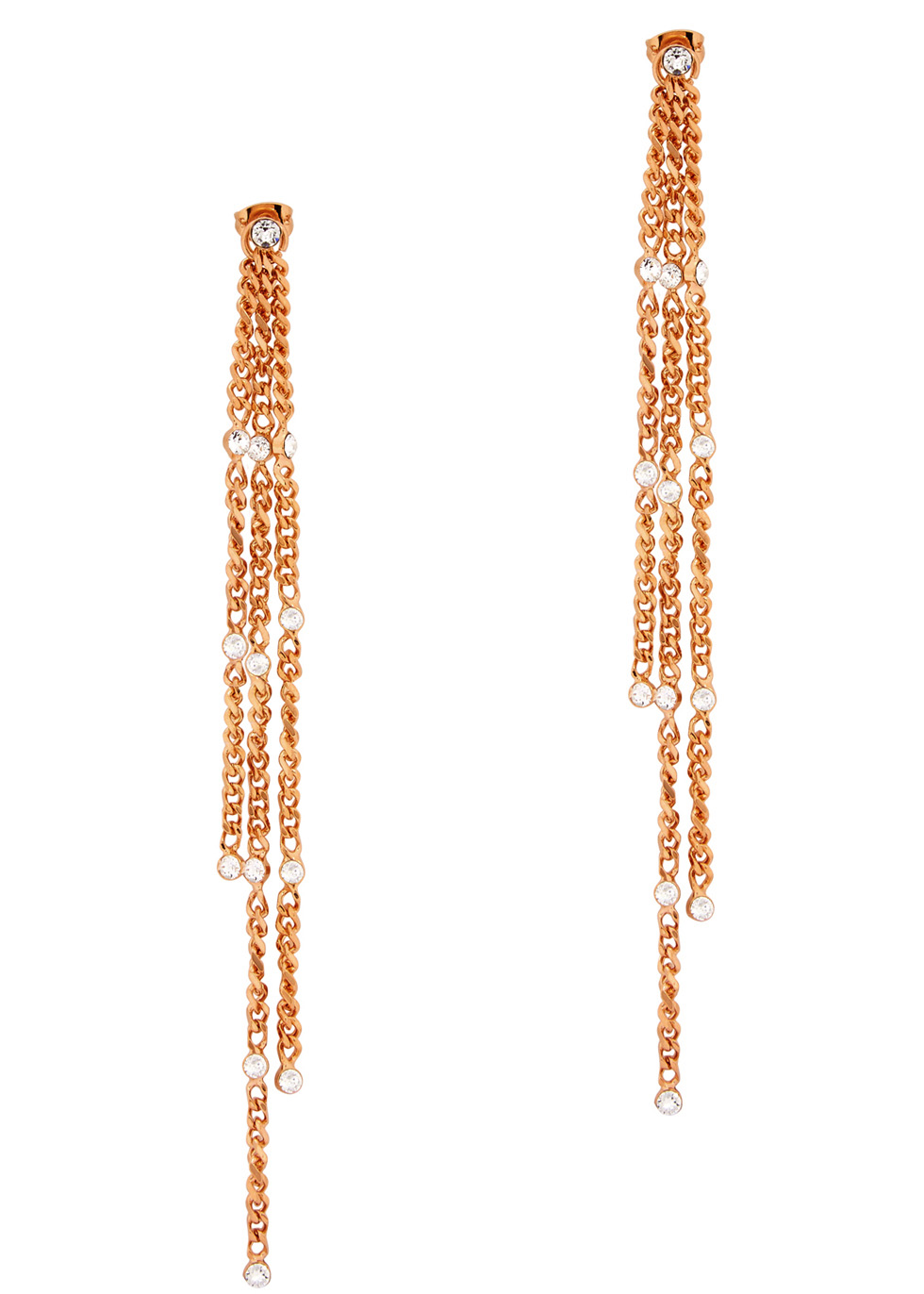 VITA FEDE STELLA SOLITAIRE ROSE GOLD-PLATED DROP EARRINGS