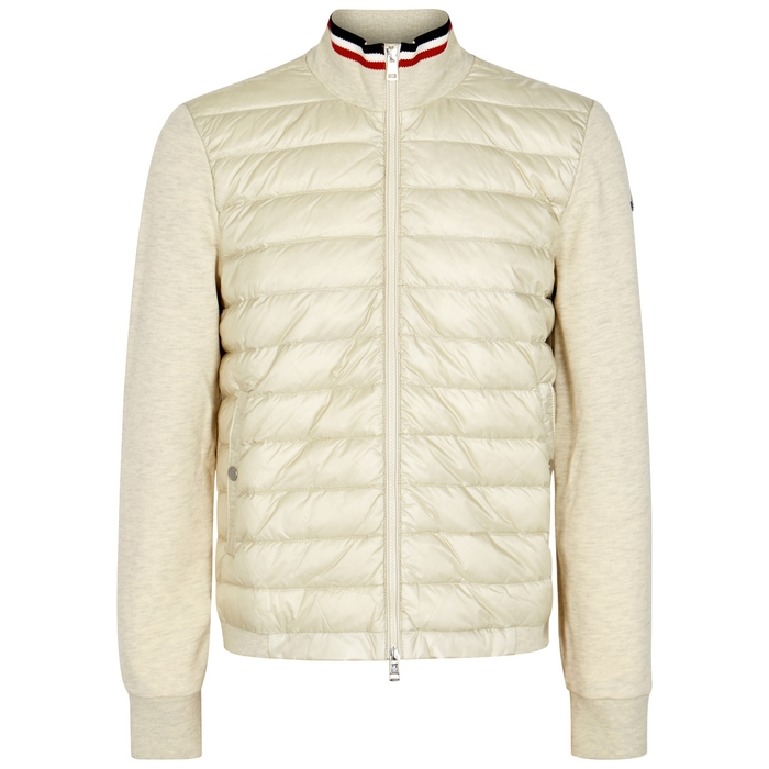 Moncler Cream Quilted Shell And Jersey Sweatshirt