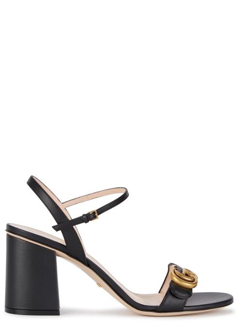 620f1f5d4f48 Gucci GG Marmont 75 black leather sandals - Harvey Nichols