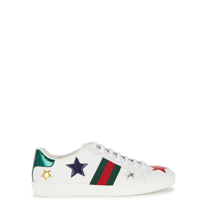 857637352e2 Gucci New Ace Star-Detail Leather Trainers In White
