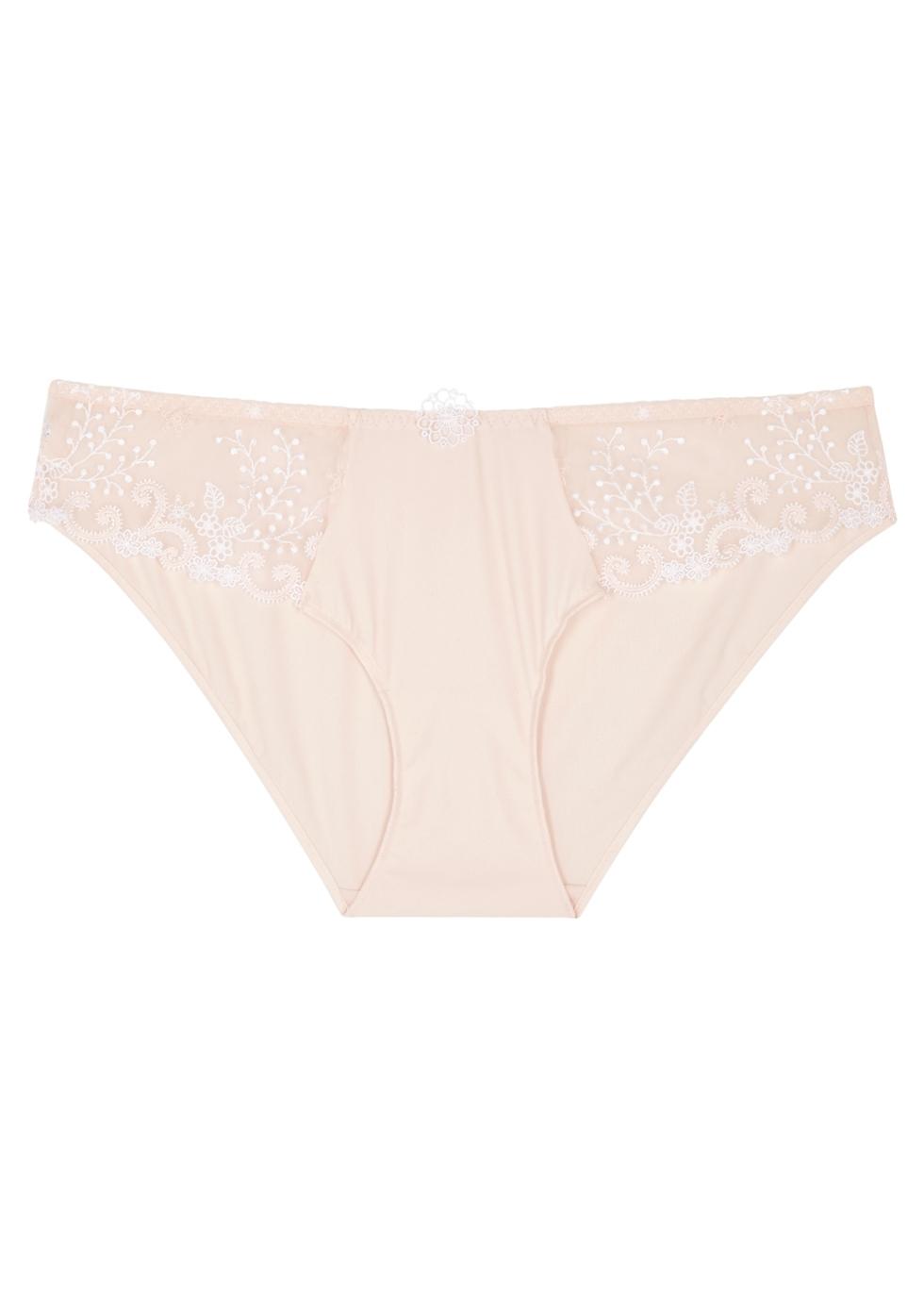 Délice blush lace-panelled briefs
