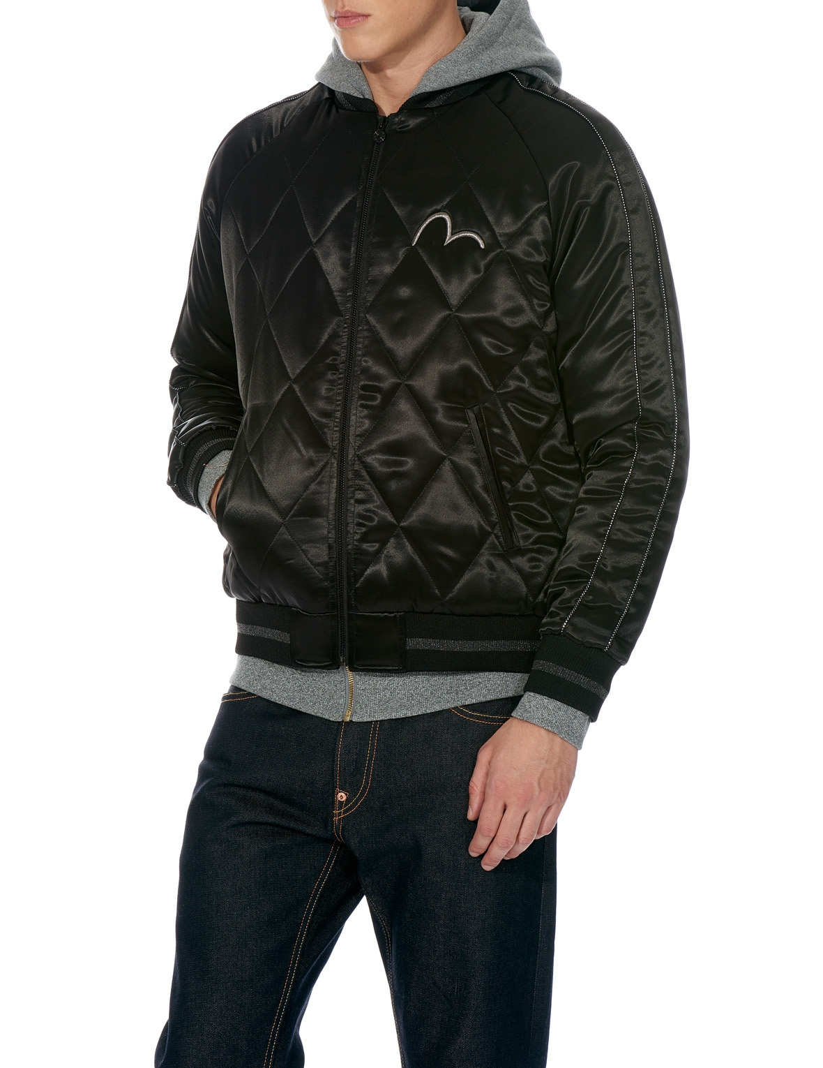 EVISU QUILTED SOUVENIR JACKET WITH EMBROIDERY