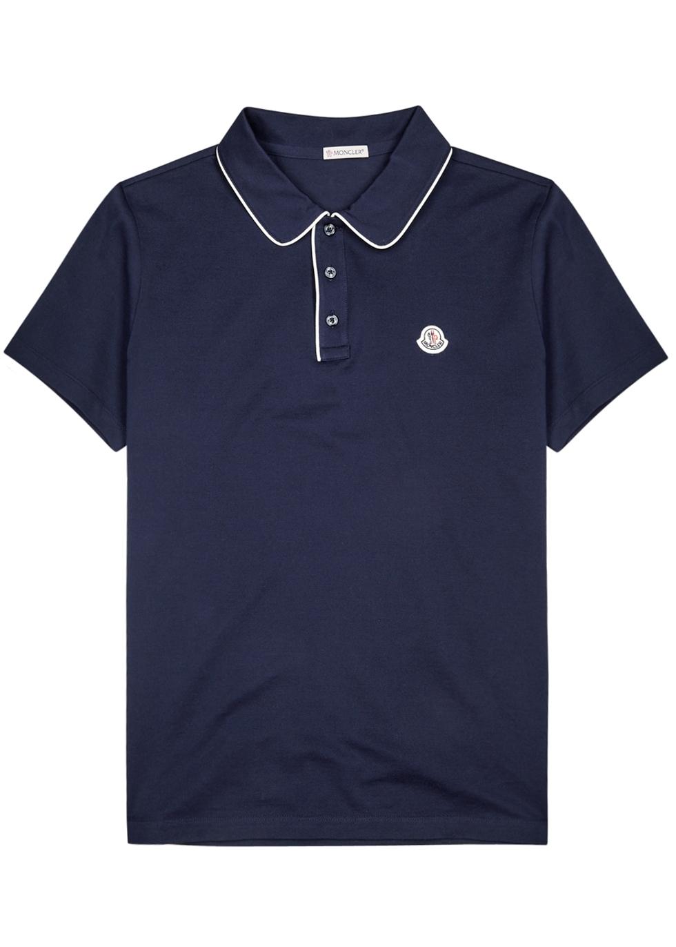Maglia navy piqué cotton polo shirt ...