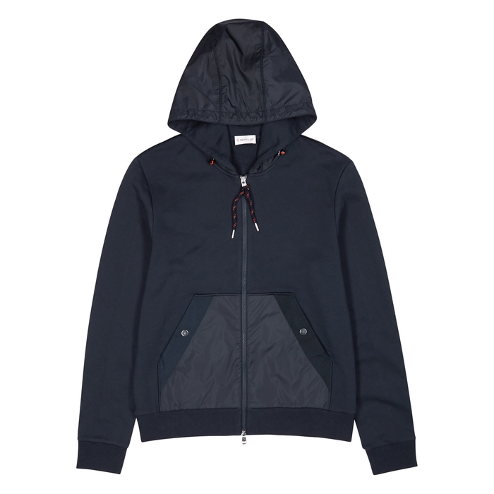 Moncler Navy Hooded Cotton And Shell Jacket
