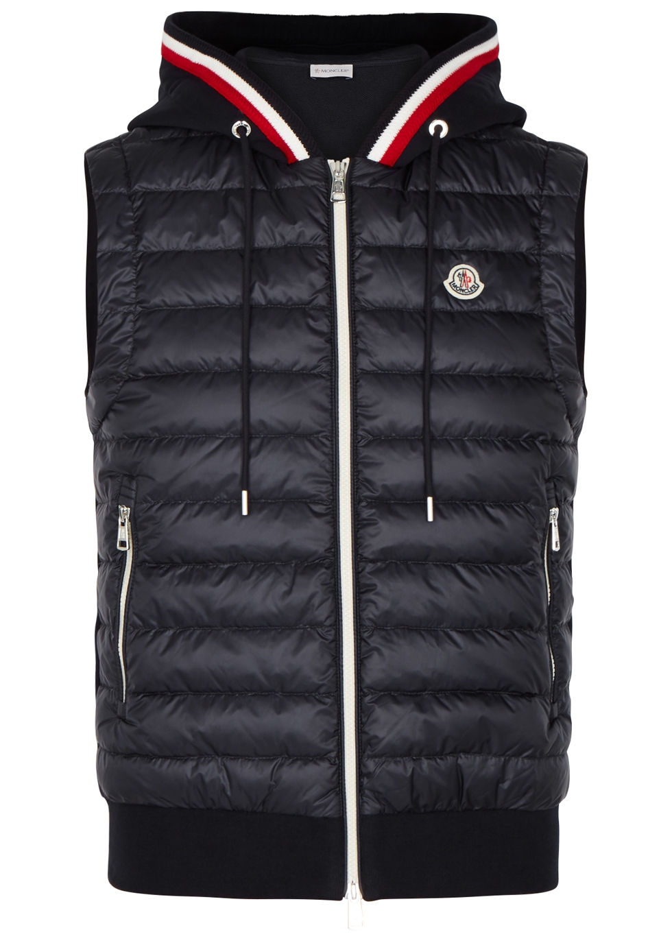 Navy quilted shell and jersey gilet ...