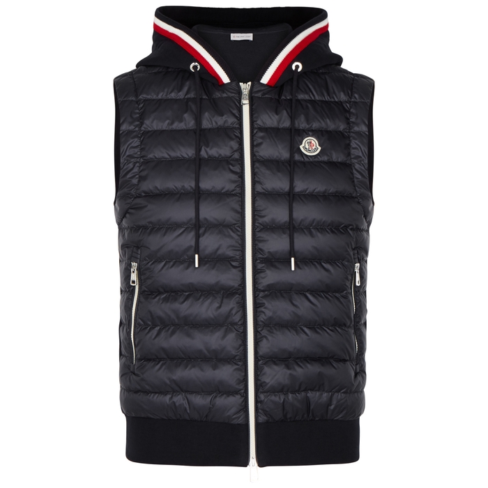 Moncler Navy Quilted Shell And Jersey Gilet