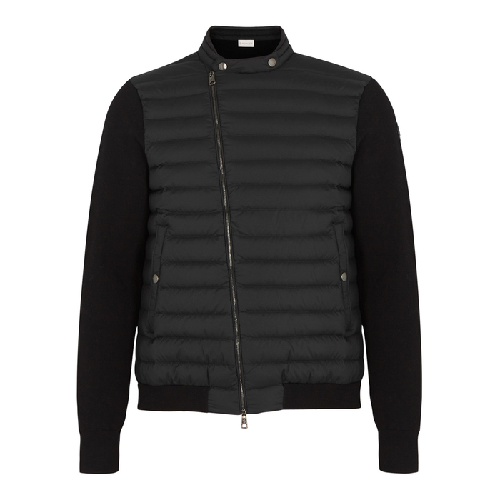 Moncler Blue Quilted Shell And Jersey Jacket