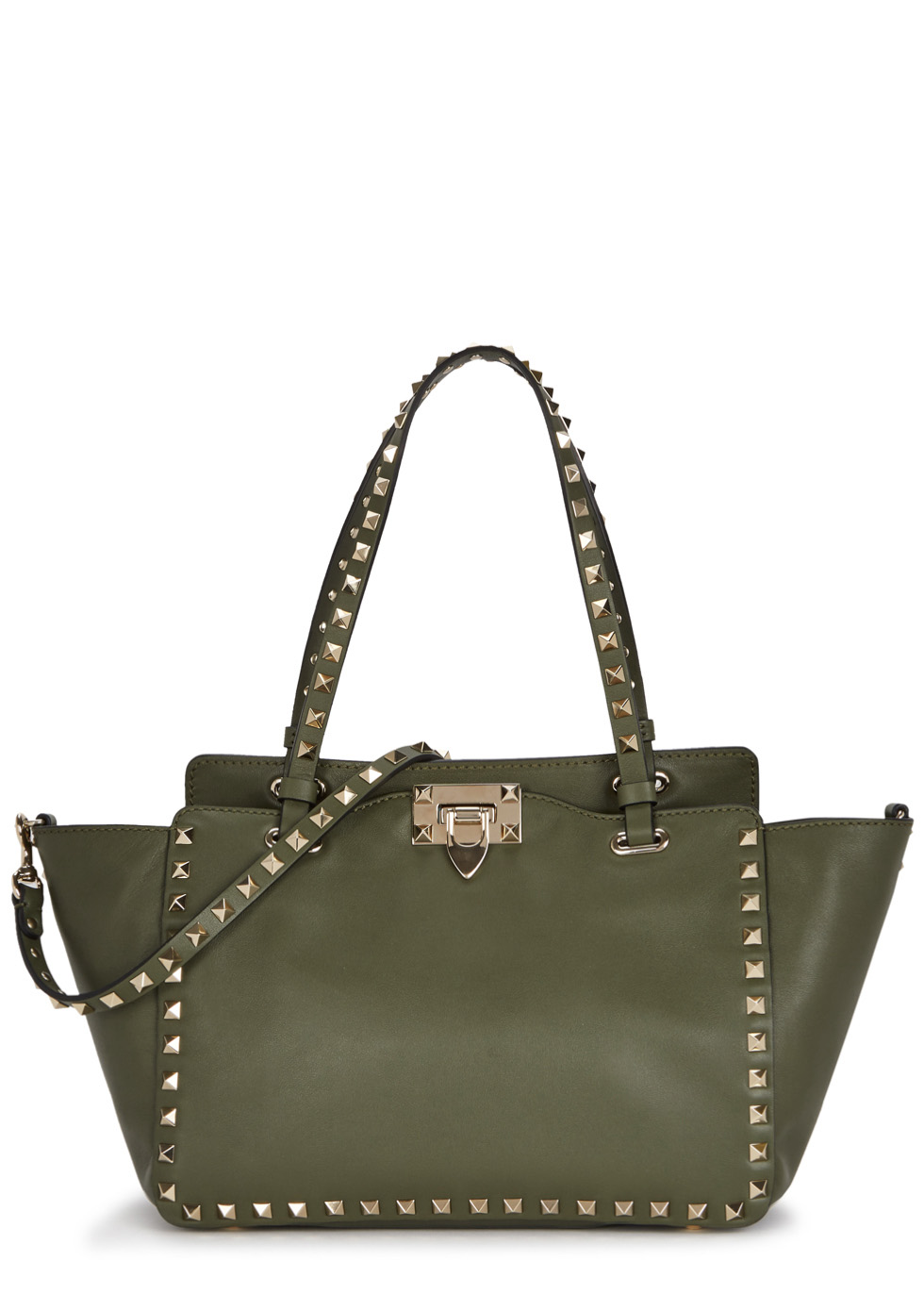 Rockstud Small Olive Leather Tote ...