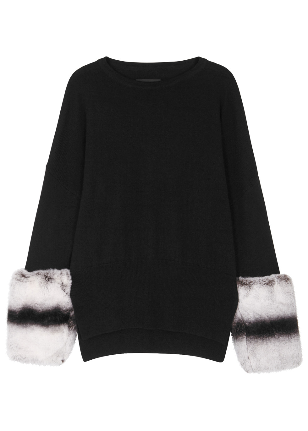 IZAAK AZANEI FUR-TRIMMED WOOL-BLEND JUMPER