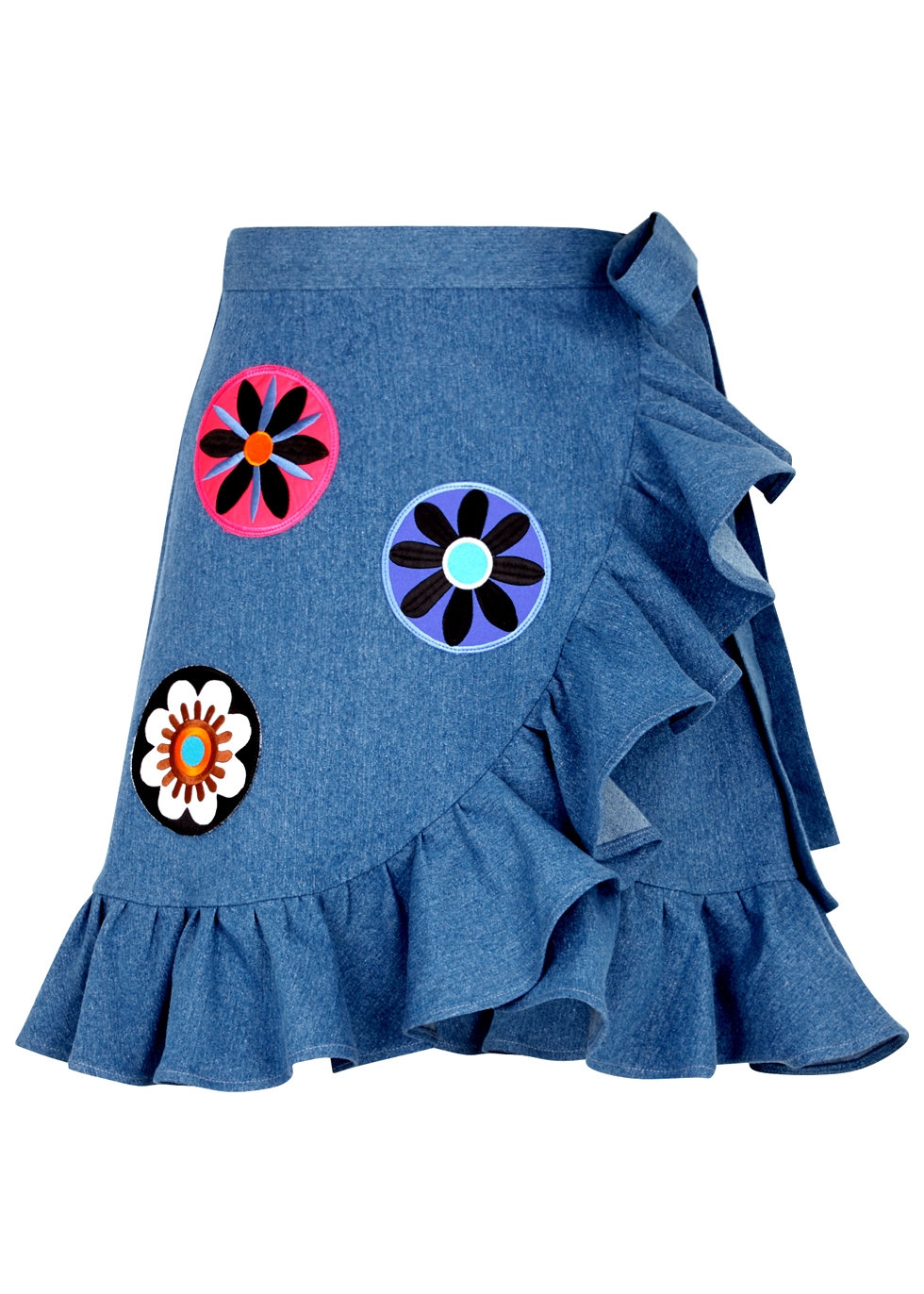 KATYA DOBRYAKOVA FLOWERS CIRCLE DENIM WRAP MINISKIRT