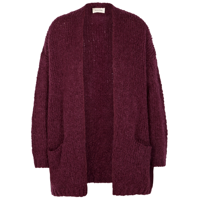 American Vintage BOOLDER PLUM CHUNKY-KNIT CARDIGAN