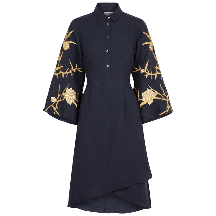 Osman ARIANA EMBROIDERED LINEN SHIRT DRESS
