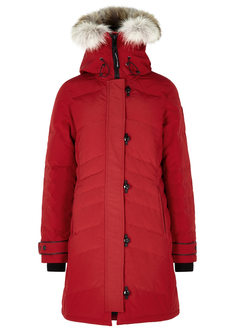 Lorette red fur-trimmed parka ...