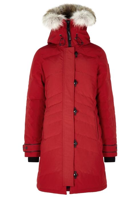 60a09b39b38d Canada Goose Lorette red fur-trimmed parka - Harvey Nichols