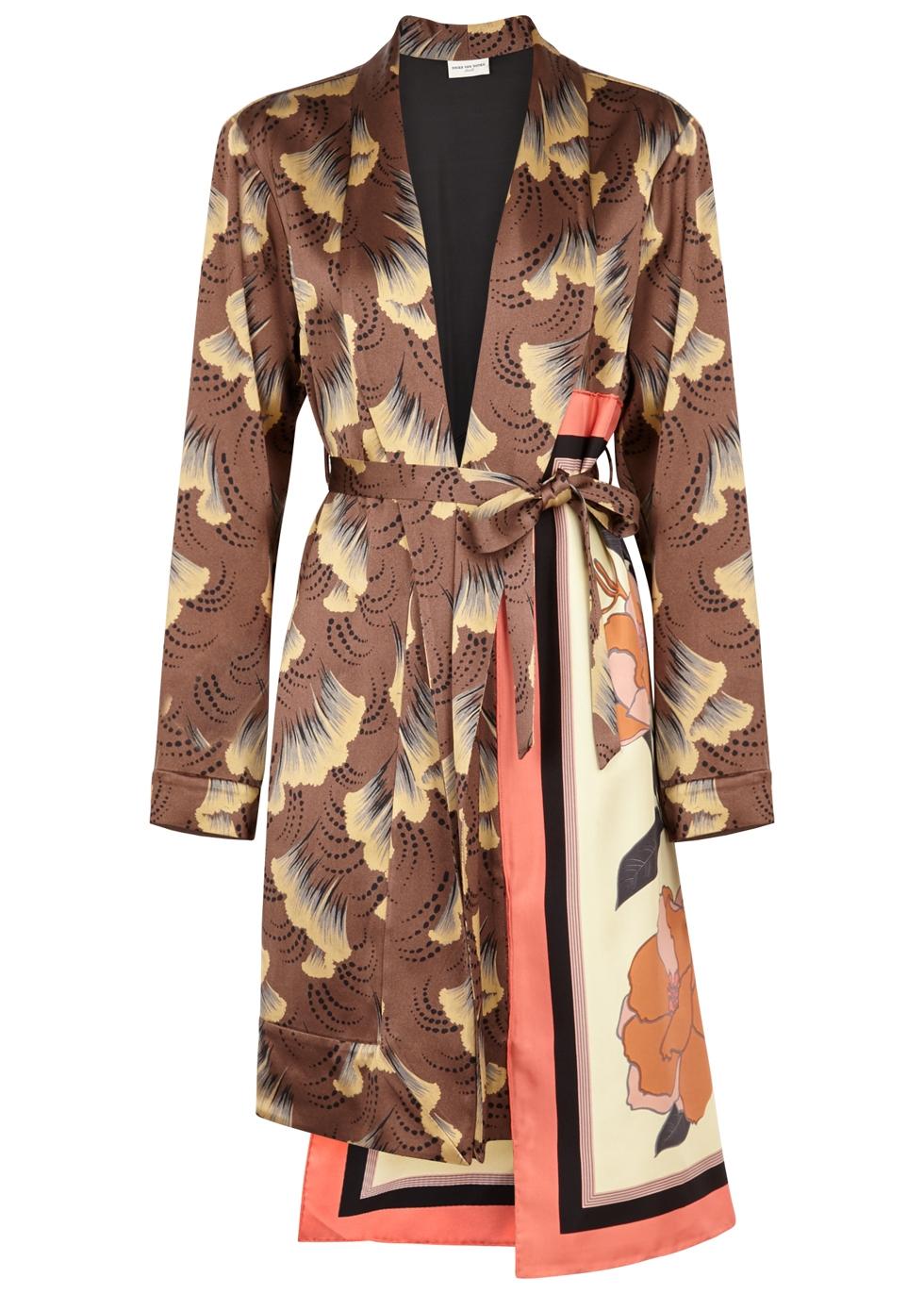 Racun printed satin kimono jacket Racun printed satin kimono jacket.  Runway. Dries Van Noten