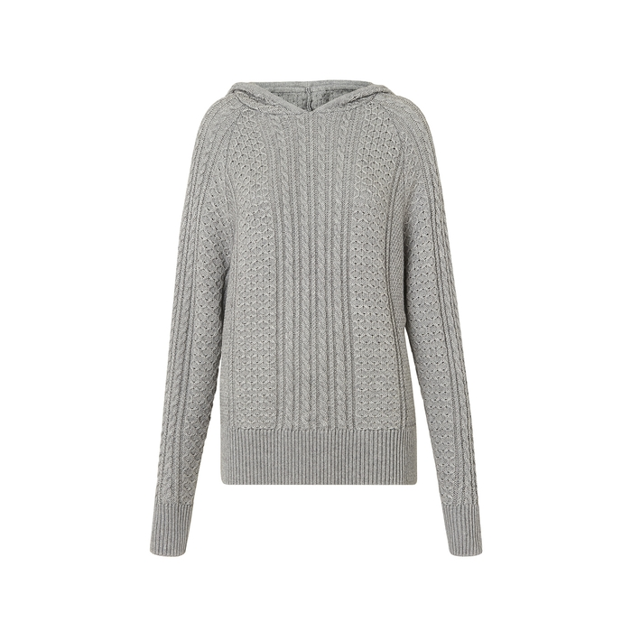 Kitri KATE GREY CABLE KNIT HOODY