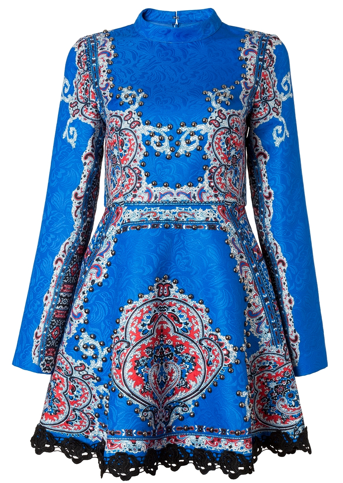 COMINO COUTURE HIGH NECK SKATER DRESS WITH SLEEVES