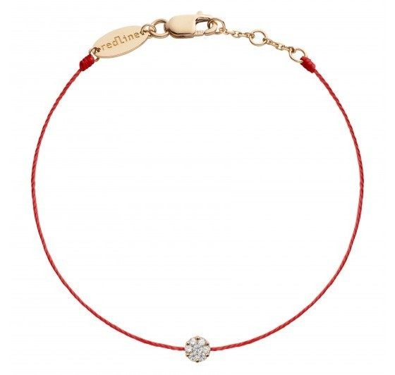 REDLINE 18CT ROSE GOLD AND DIAMOND ILLUSION RED THREAD BRACELET