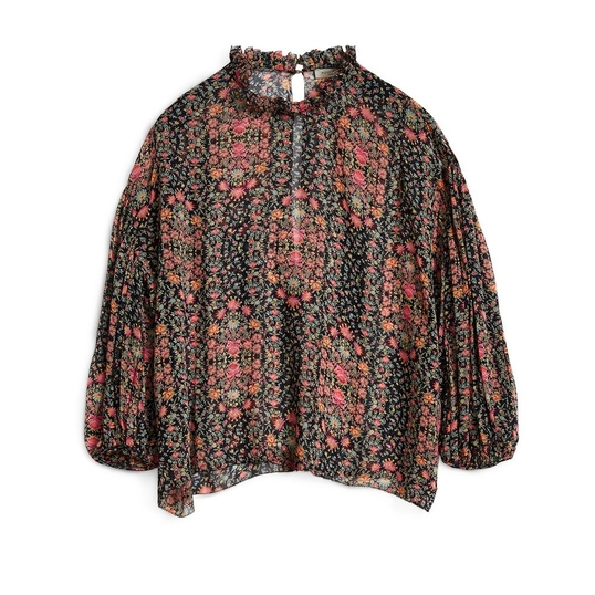 Hunkydory FLORAL PLEAT BLOUSE NAVY FLORAL