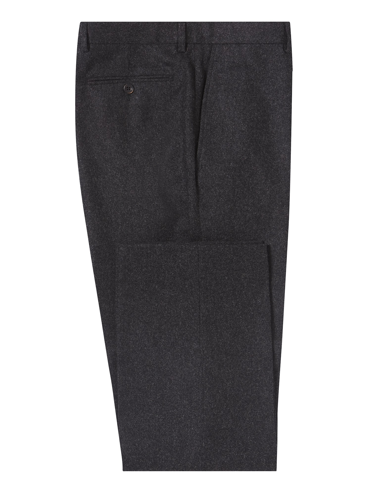 CHESTER BARRIE CHARCOAL WEST-OF-ENGLAND FLANNEL TROUSERS