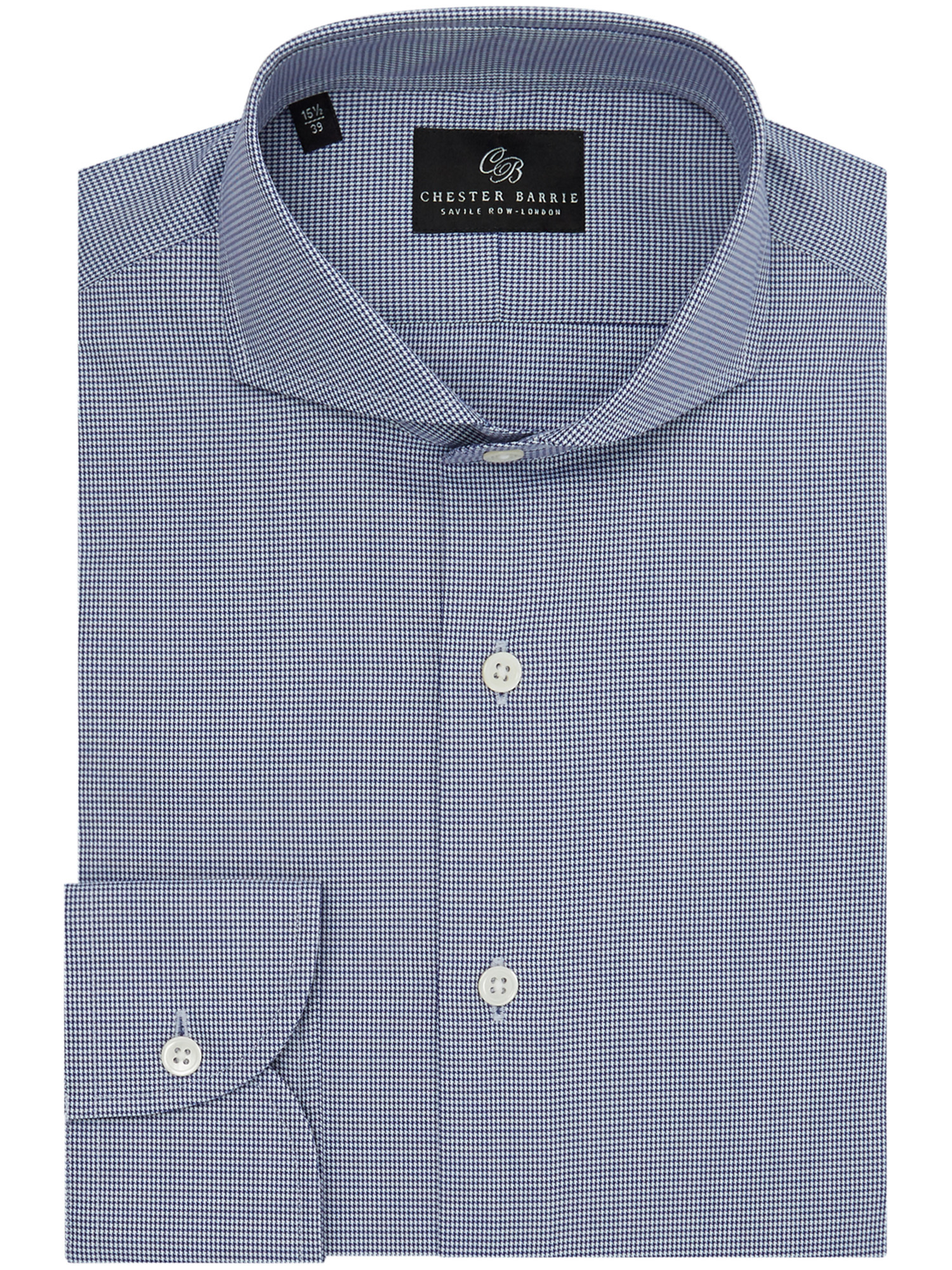 CHESTER BARRIE BLUE HOUNDSTOOTH SHIRT