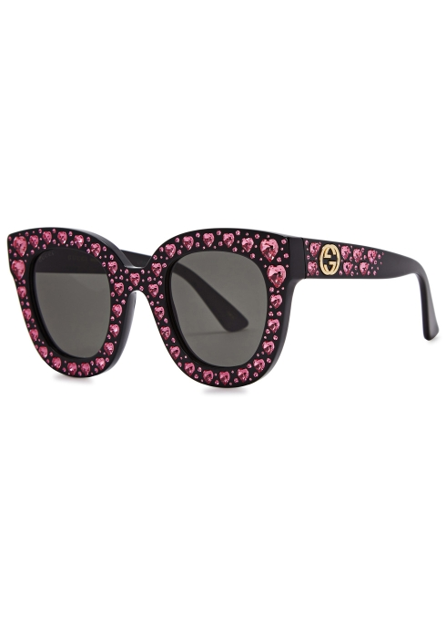 ed36df0548 Gucci Crystal-embellished oversized sunglasses - Harvey Nichols