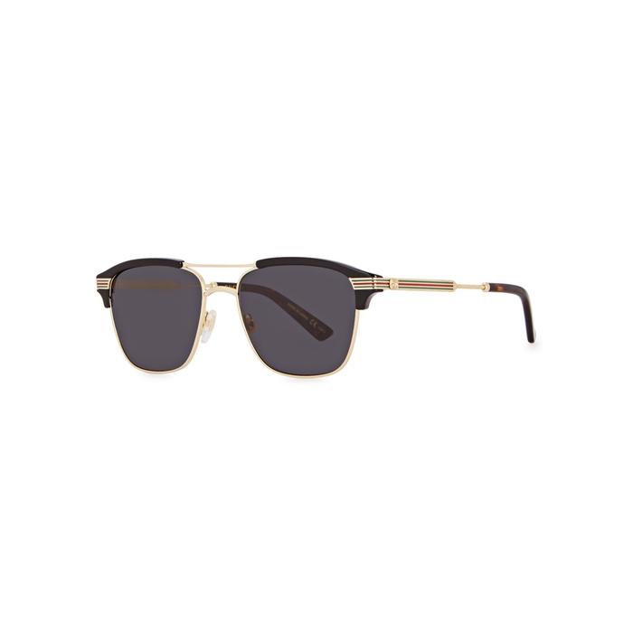 Gucci Gold Tone Clubmaster-style Sunglasses