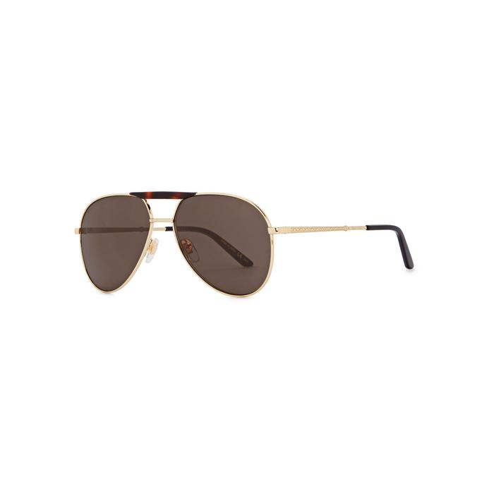 Gucci Gold Tone Aviator-style Sunglasses