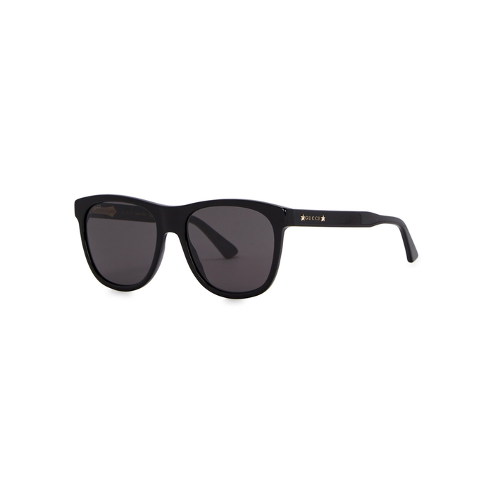 Gucci Black Acetate Wayfarer-style Sunglasses