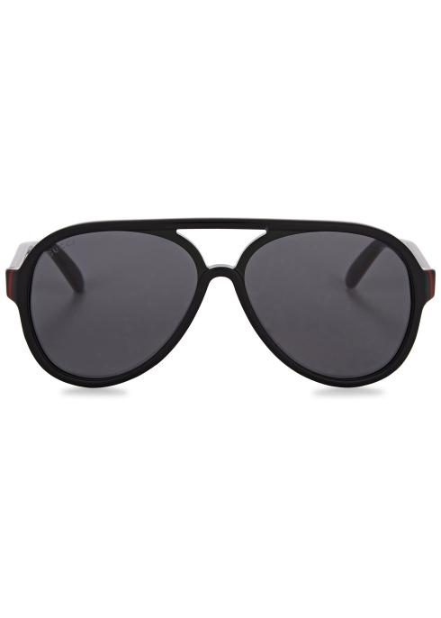 31eca393 Gucci Black aviator-style sunglasses - Harvey Nichols