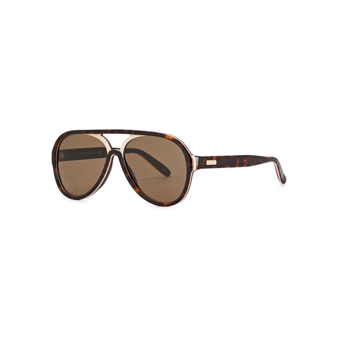 Gucci Tortoiseshell Aviator-style Sunglasses