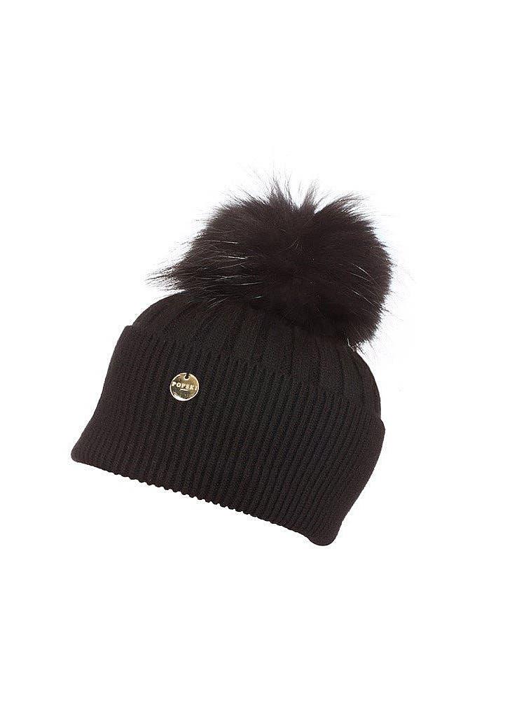 da29aaa3adefd7 Angora pom pom hat - black with black ...